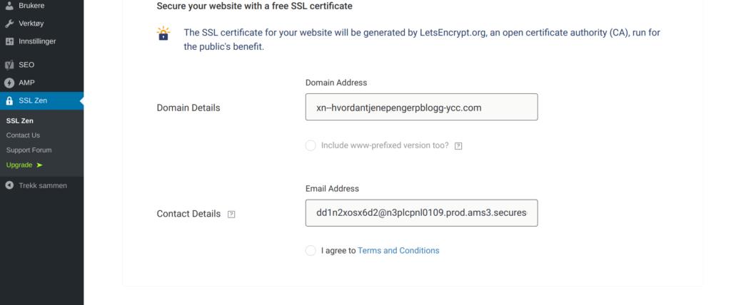 Begynn aktiveringen av SSL sertifikat
