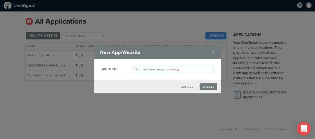 ny app nettside onesignal