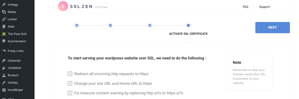 siste steg gratis ssl sertifikat